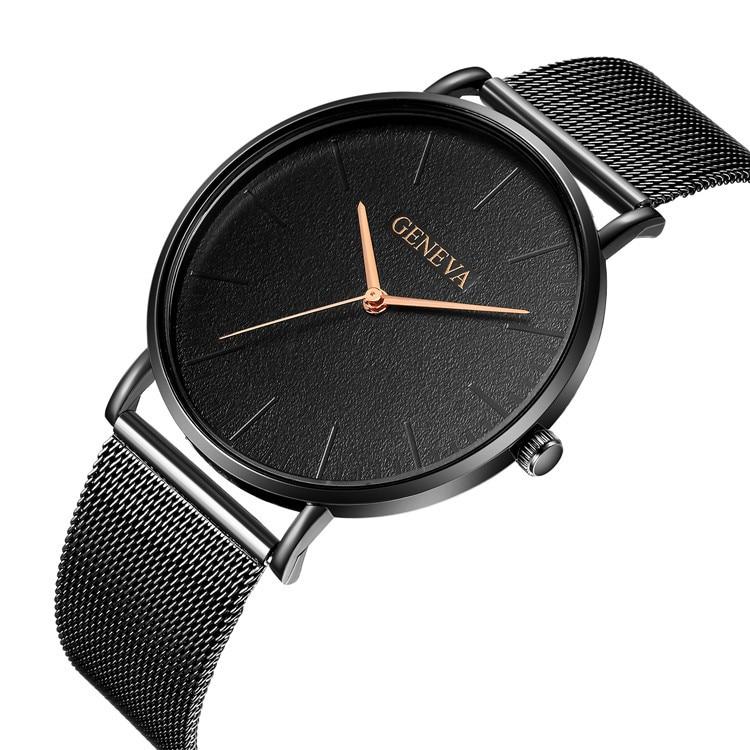 GENEVA Fashion Mens Watch Slim Mesh Steel Waterproof Minimalist Wristwatches For Men Quartz Sports Watch Clock Relogio Masculino