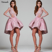 купить Hot Dusty Pink Party Dress Hi-low Full Sleeves Womens Special Occasion Lace A-line Cocksail Dress Short Gowns Custom Made по цене 5145.36 рублей