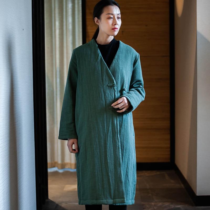 Manteau Vert Rétro N316 Style Femme Littérature Vêtements Coton Chinois  rembourré 2018 D origine En Lâche Longues D hiver Veste f4nBwqS 55f217a821ea