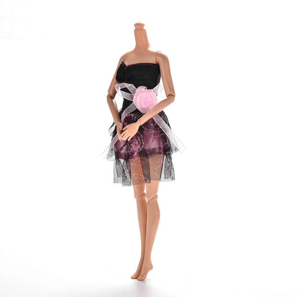 "1 Pcs baby girl birthday present for kids Mini Black Princess Dress for Barbies 11"" Dolls Mini Sleeveless Strapless Doll Dress"