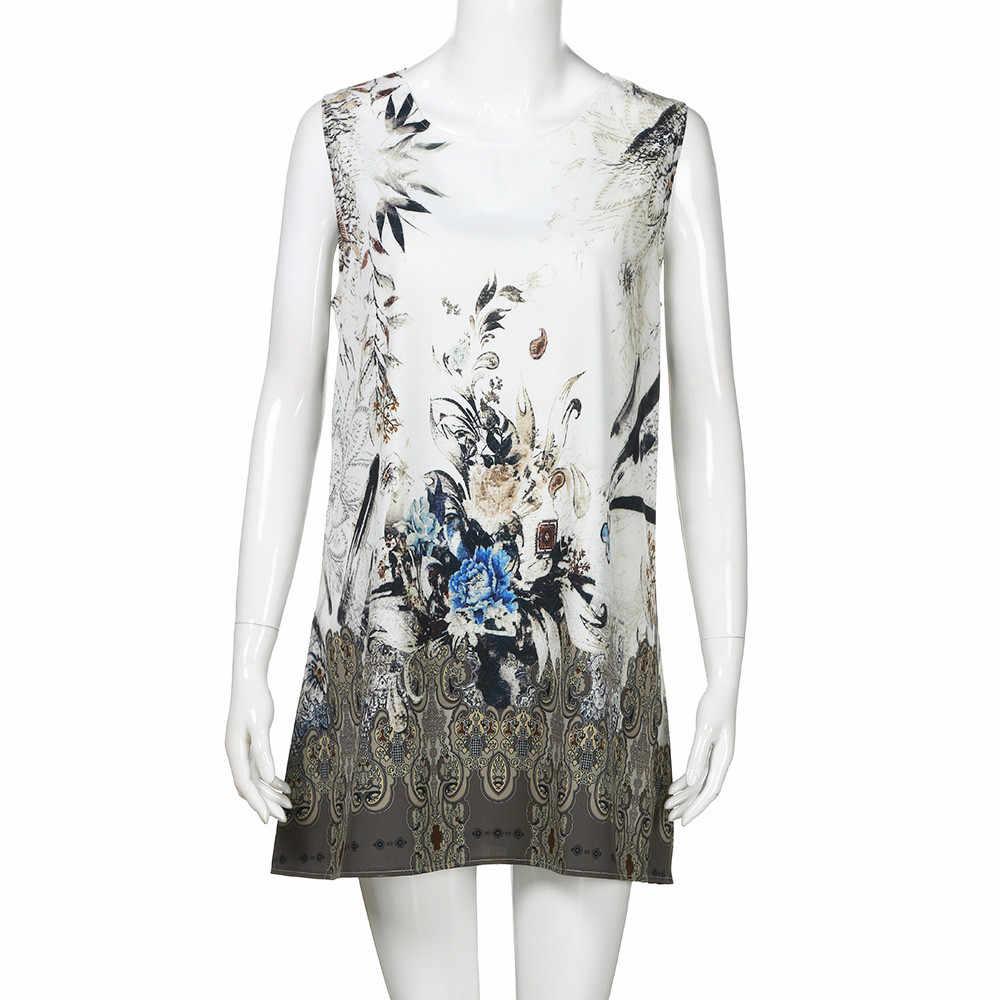 SAGACE kadın elbise 2019 moda rahat gevşek yaz Vintage kolsuz 3D çiçek baskı kısa Mini elbise kadın parti elbise kadın