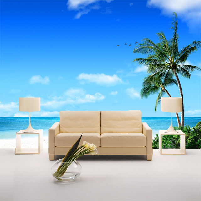 Affordable Affordable Saila Wei Modern Minimalist Living Room Sofa Palm  Beach Sea Wall Paintings Develop Tv Backdrop Wallpaper With Wei Modern With  Wei ...