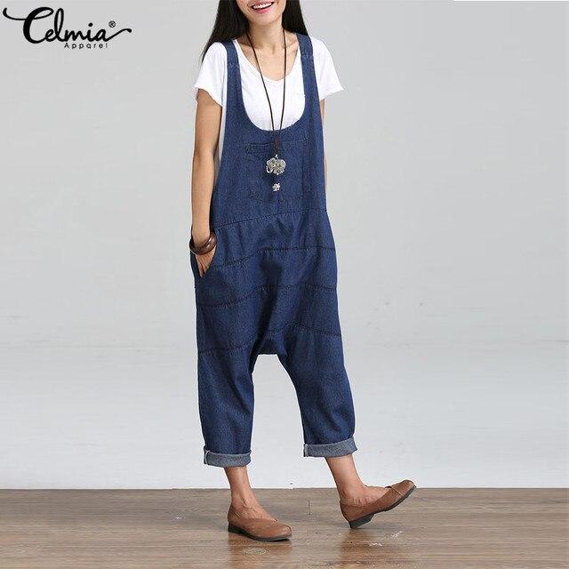 2076f43e1d4 Plus Size Celmia 2018 Summer Women Loose Casual Bib Overalls Denim Rompers  Harem Pants Long Jumpsuits Strappy Pockets Dungarees