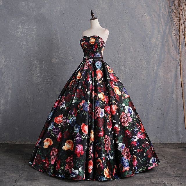 JaneVini Elegant Sweetheart Floral Prom Dress Print Pattern Satin Floor Length Dresses Women Plus Size Ball Gown Evening Dress 2