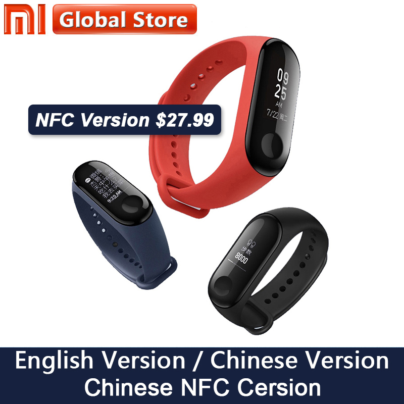 Nuevo Original Xiao mi Band 3 NFC pulsera inteligente pulsera 0,78 pulgadas OLED mensaje instantáneo identificador mi band 3 rastreador de Fitness