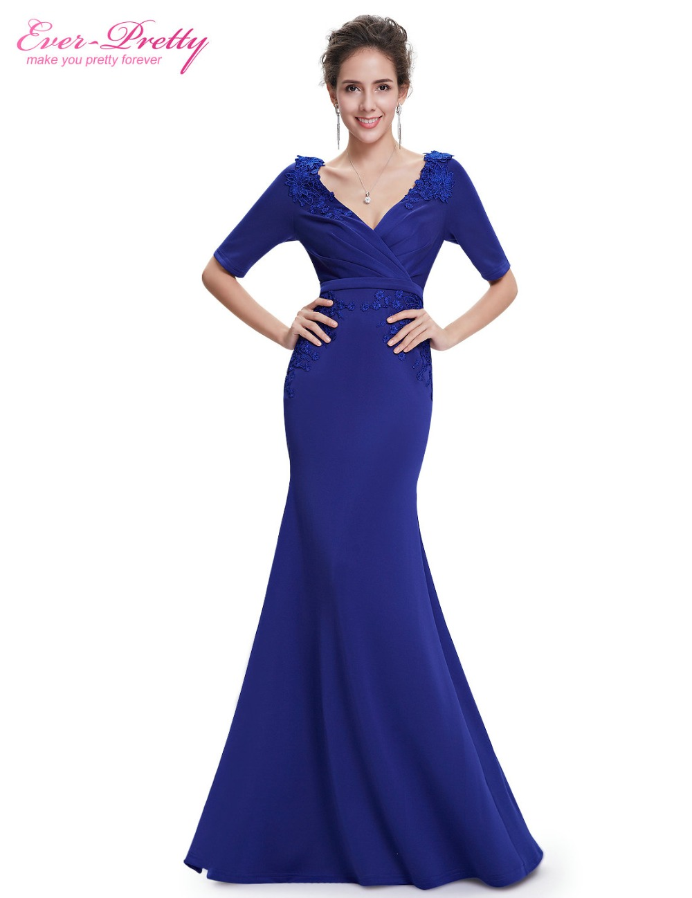 Aliexpress.com   Buy Ever Pretty Evening Dresses Sexy Sapphire Blue V neck  Half Sleeve Fishtail Long Evening Party Dress XXBS73680EHA from Reliable  evening ... 0b0dcc4a0