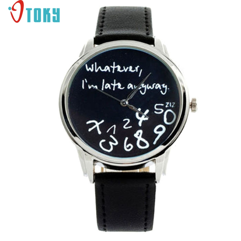 Excellent Quality Watch Women Watches Bracelet Casual Female Clock Men Leather Wathever I am Late Anyway Letter Print Relogio