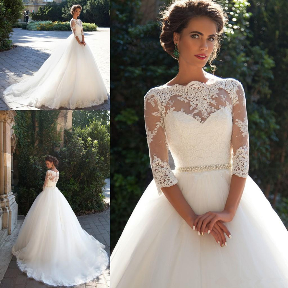 2019 Wedding Dresses White Lace Boat Neck A line Half Sleeves Button Back Pearls Belt Appliques