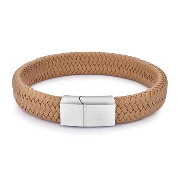 Braided Leather Men's Bracelet with Magnetic Stainless Steel Clasp Bracelets Hot Promotions Jewelry Men Jewelry New Arrivals Metal Color: Khaki 1 Length: 20.5cm
