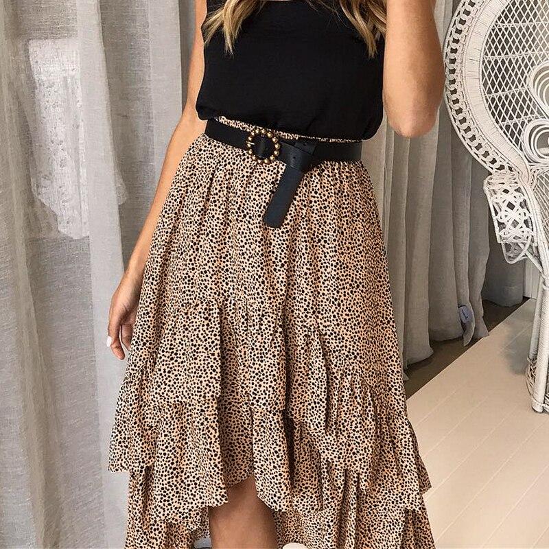 Melegant Leopard Print Ruffle Midi Skirts High Waist Asymmetrical Elegant Skirts Women 2019 Summer Spring Sexy Skirt Faldas