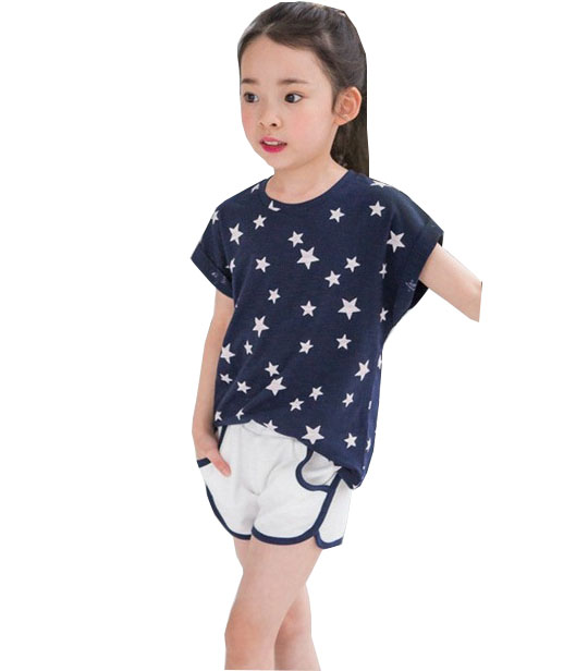 kids Summer cotton girl Gypsophila shorts + T - shirt sets Children's clothes round neck cotton casual suit 2 3 4 5 6 7 years