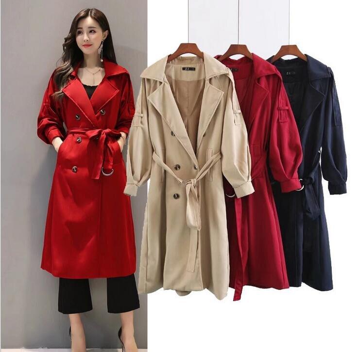 162899f93170 Cassic Bleu Élégant Populaire Casual Vent rouge Slim Veste Manteau Femmes  kaki Outwear Mode De Richardroger ...