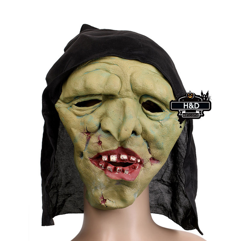 Latex Devil Full Head Green Ghost Mask Black Cloth Scary Halloween Prank Prop Masquerade Fancy Dress Costume Cosplay Party Masks