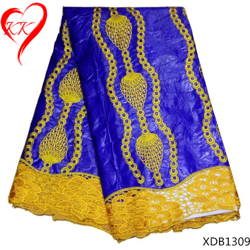Beautifical african bazin riche high quality embroidered jacquard lace fabric for women dresses 5yard lotLL XDB13