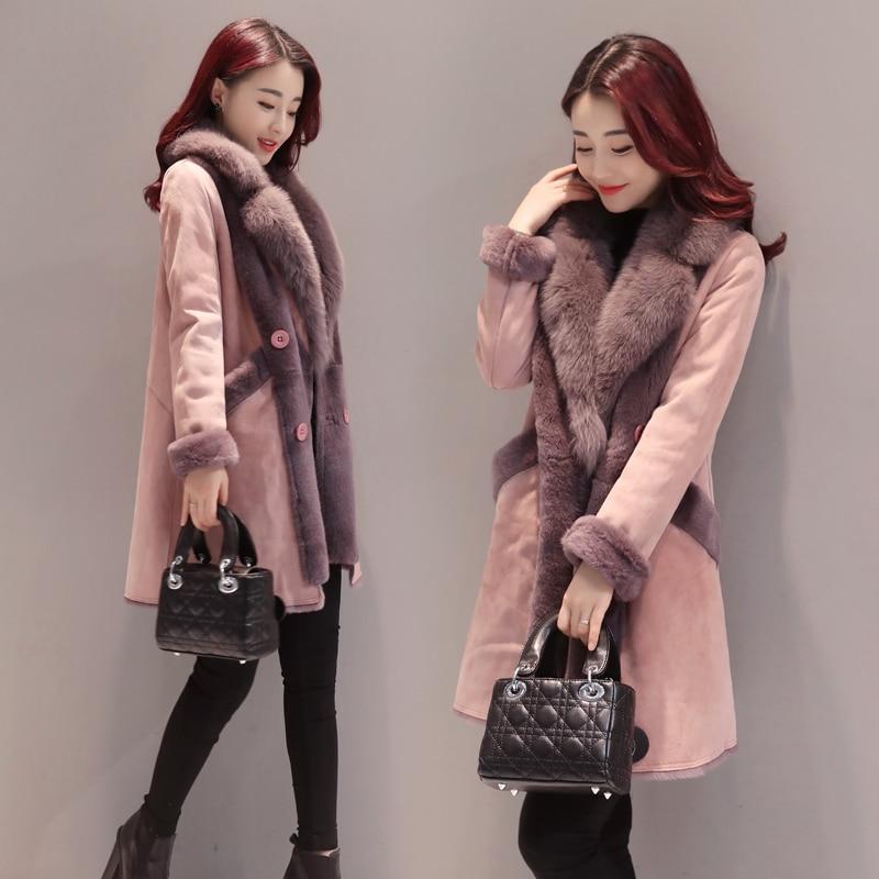 Женское длинное пальто из хлопка, корейское пальто из меха ягненка с большим меховым воротником, зима 2019
