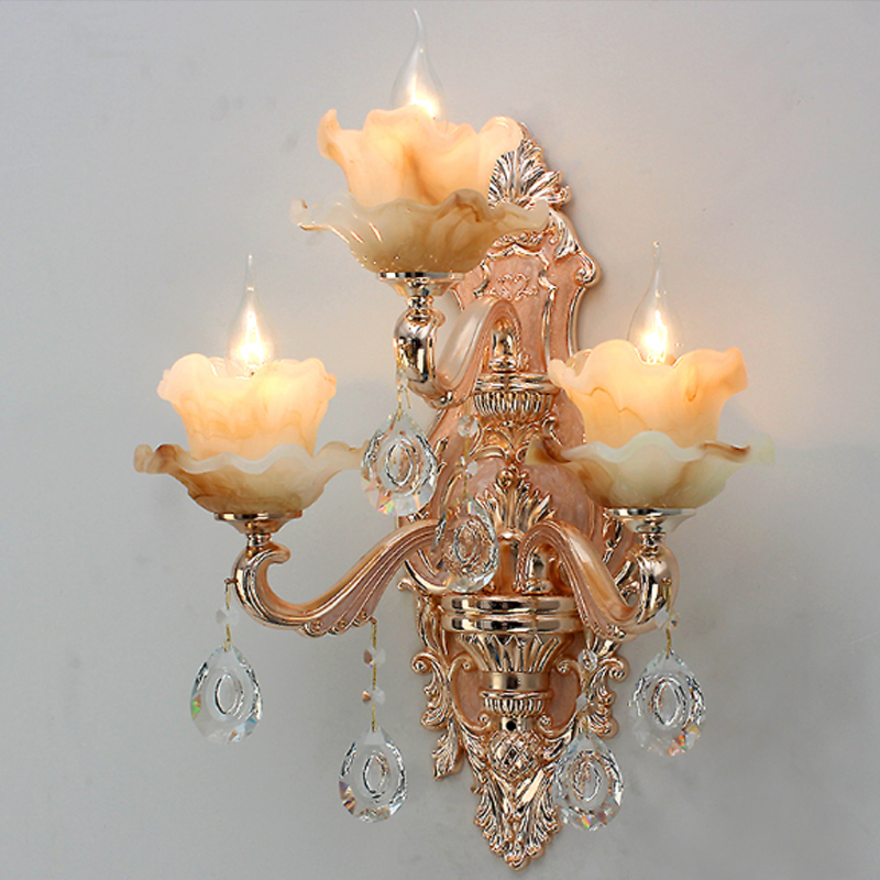 European bedroom bedside crystal wall lamp living room crystal imitation jade wall lamp  ...