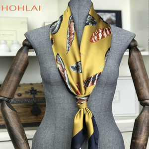 Silk scarf women scarfs square 90*90 sjaal schal scarves luxury brand autumn hijab peacock satin spring hair gifts cachecol wape(China)