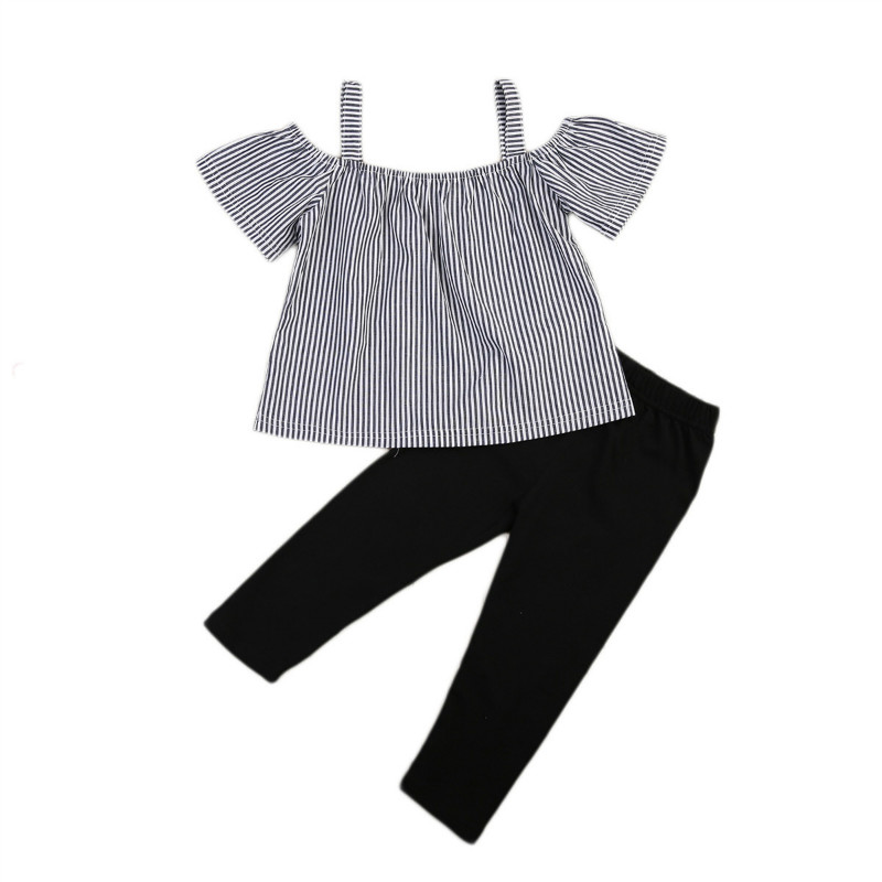 Pudcoco 2017 Brand Girls Summer Clothing Sets Girls Fashion Striped Clothes Set Children Blouse+Black Pants 2PCS Suits