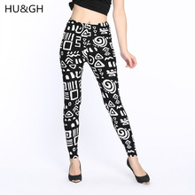 HU&GH New 2017 Summer Women Fashion Geometric Thin Stretch leggings printed Slim Skinny legging elastic Pants