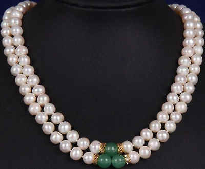 2row double strands 9-10MM GREEN JADE SOUTH SEA WHITE PEARL NECKLACE