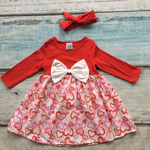Todas as meninas do coração vestido de crianças vestido de festa dia Dos Namorados vestido vermelho com arcos headband do bebê meninas vestido boutique com mathing