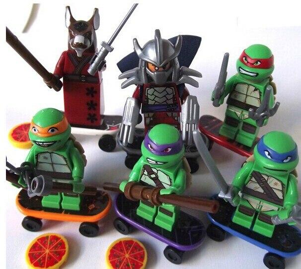 Wholesale 10 sets 60pcs Turtles Building Bricks Set Hero Figure Learning Toy