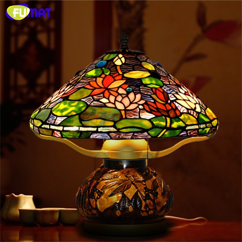 FUMAT Glass Art Table Lamps European Style Lotus Stained Glass Lamp Hand Made LED Bedside Living Room Decor Light Fixtures fumat classic table lamp european baroque stained glass lights for living room bedside table light creative art led table lamps