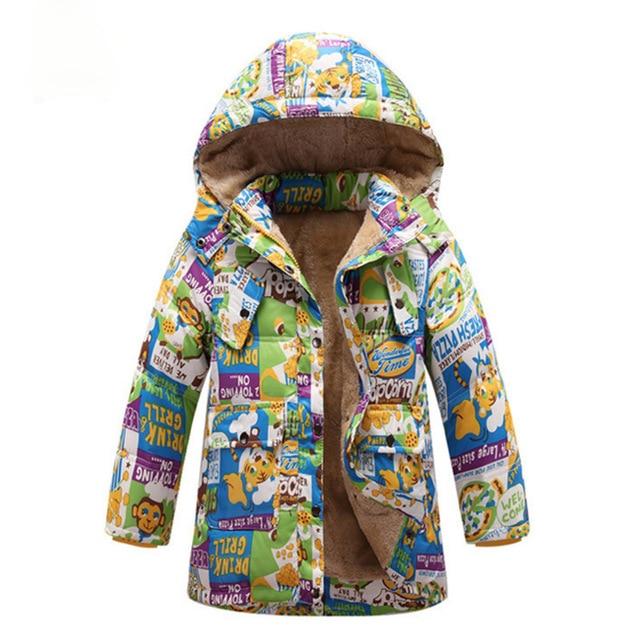 2017 da menina do inverno casacos e jaqueta macaco dos desenhos animados impresso menina do inverno jaqueta longa com capuz crianças outerwear engrossar meninos casacos de inverno