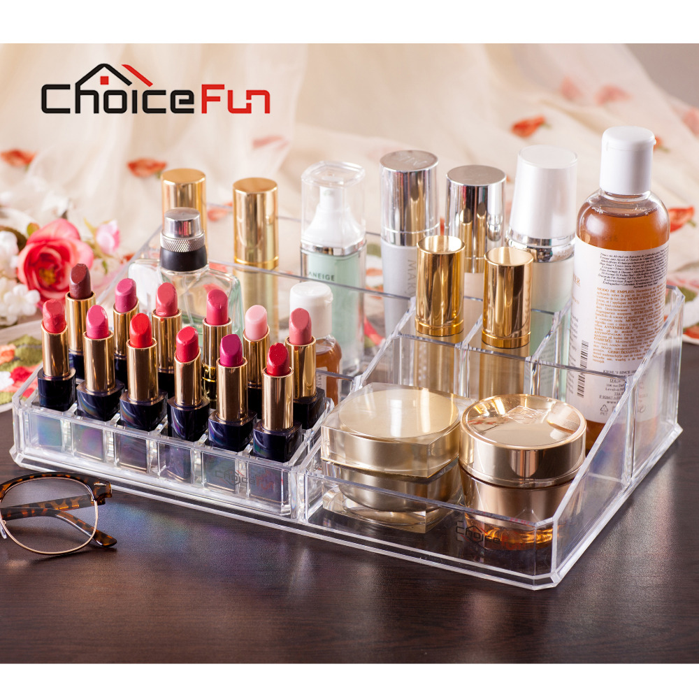 Makeup Organizer Tray Vanity Lipstick-Holder Cosmetic Acrylic Transparent Clear 12 CHOICEFUN