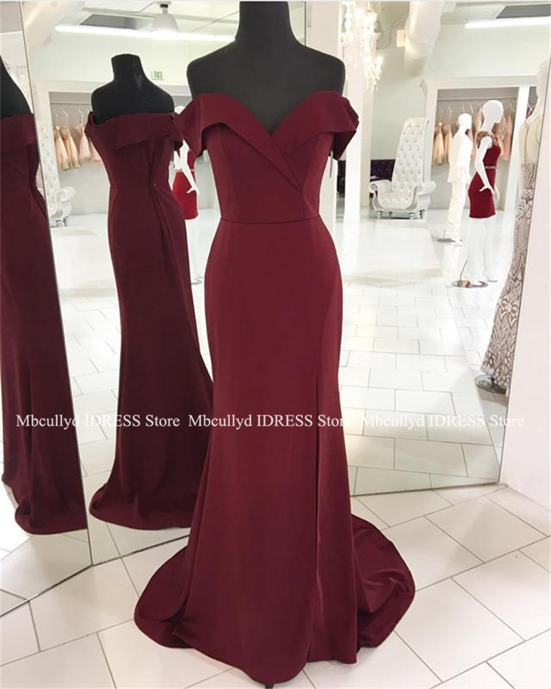 Allurin Off the Shoulder Burgundy   Prom     Dress   With Slit 2019 Sexy Backless Mermaid   Dresses   Evening Long Formal Vestidos de fiesta
