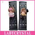 Ladycrystal 1 Par Diamante Mono Cubierta de Cuero Lindo de LA PU Del Coche Auto Del Cinturón de seguridad Del Cinturón de seguridad Hombrera Car Styling Acdesories