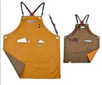 Luxury Designer Double Sides Canvas Bib Leather Apron Leather X Strap Barber Kitchen Chef Apron With Pocket Tattoo Shop Workwear