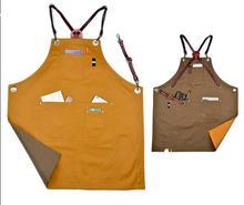 Luxury Designer Double Sides Canvas Bib Leather Apron X Strap Barber Kitchen Chef With Pocket Tattoo Shop Workwear