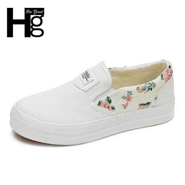 HEE GRAND New Spring Woman Casual Shoes Comfortable Round Toe Sweet Floral Rubber Sole Platform Shoes for Woman XWD5090
