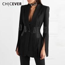 CHICEVER OL, черный блейзер для женщин, воротник с лацканами, длинный рукав, бандажная туника, раздельное пальто, женская модная одежда,, летняя Новинка