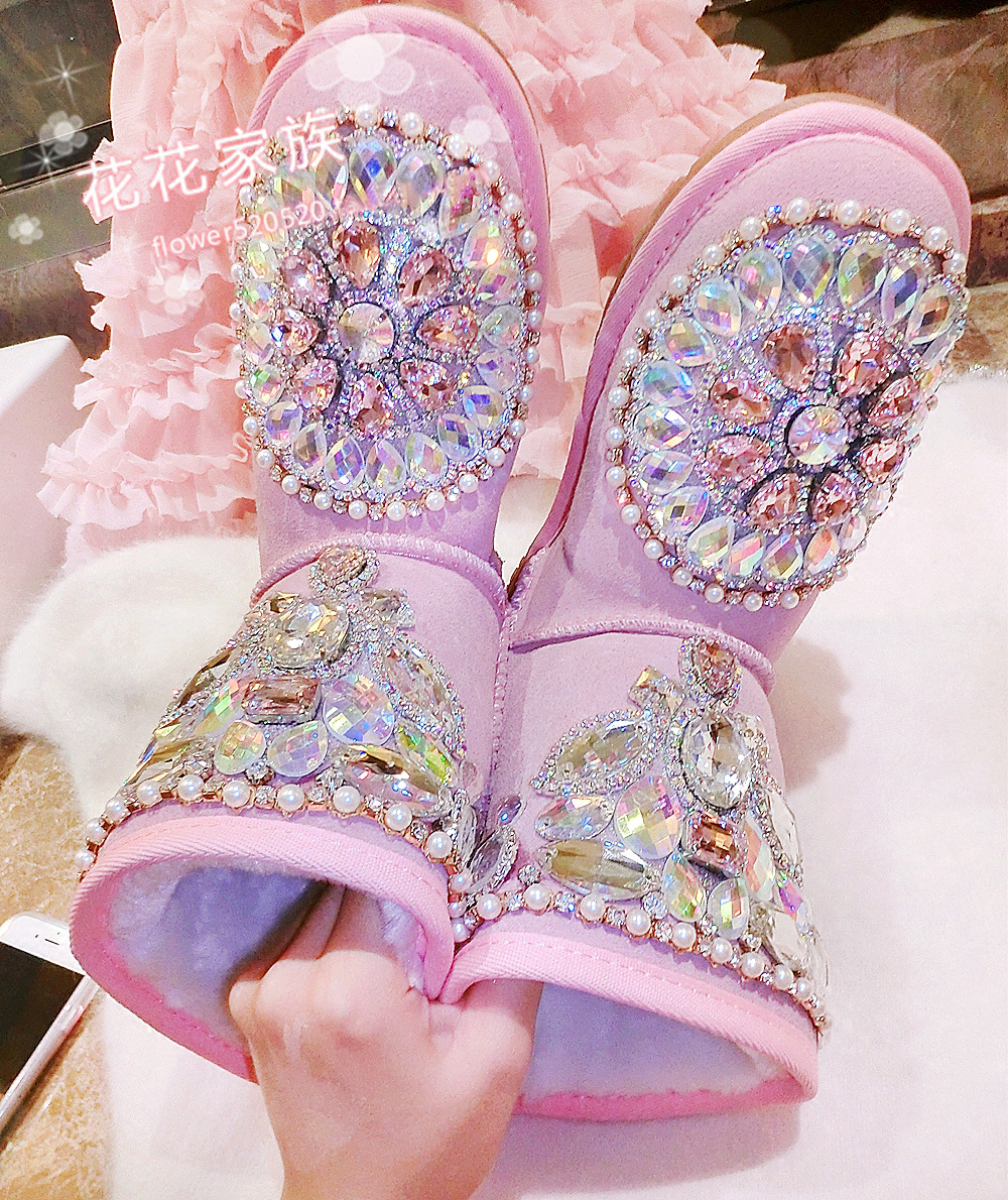 Princess Pink Suede Leather Flat Ankle Boots Women Shinny Rhinestone Flat Shoes Lovely Girl Winter Thick Wool Ladies Boots princess 132502 pink