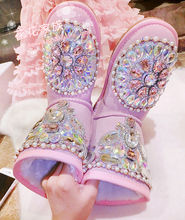 Princess Pink Suede Leather Flat Ankle Boots Women Shinny Rhinestone Shoes Lovely Girl Winter Thick Wool Ladies