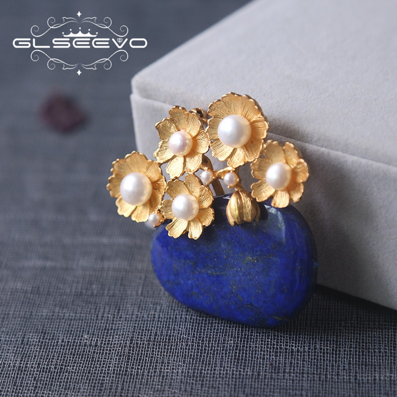 GLSEEVO Natural Lapis Lazuli Fresh Water Pearl Flower Brooch Pins And Brooches For Women Gifts Dual Use Luxury Jewelry GO0191 glseevo natural lapis lazuli flower brooch pins and brooches for women accessories birthday gifts dual use luxury jewelry go0183