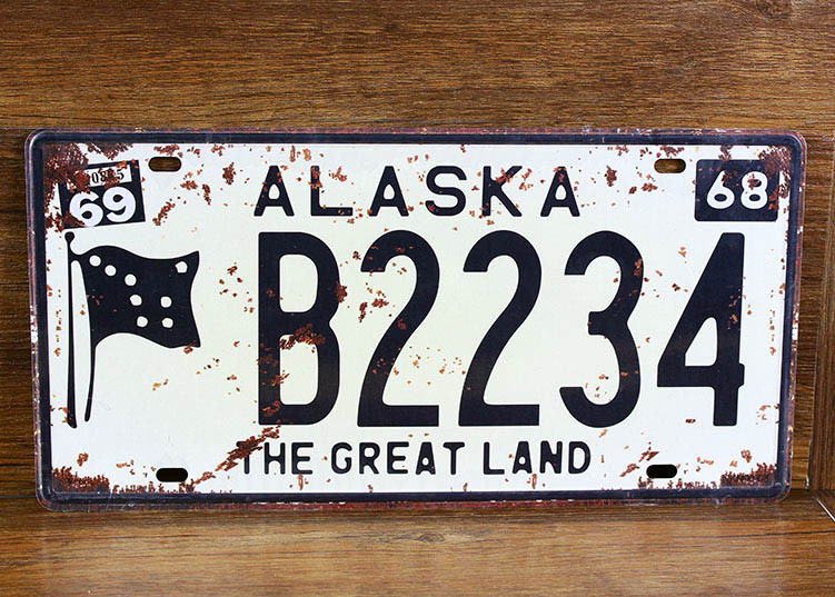 UA-CP-00186 NEW arrival metal vintage tin signs License car plates number B2234 ALASKA pub wall art craft home decor 30*15 CM