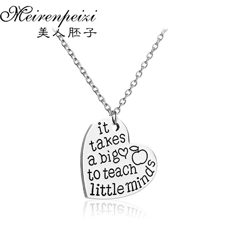 Teachers Gifts Silver Heart with Apple Necklace Teacher AppreciationIt takes a big heart to teach little mindsPendant Necklace