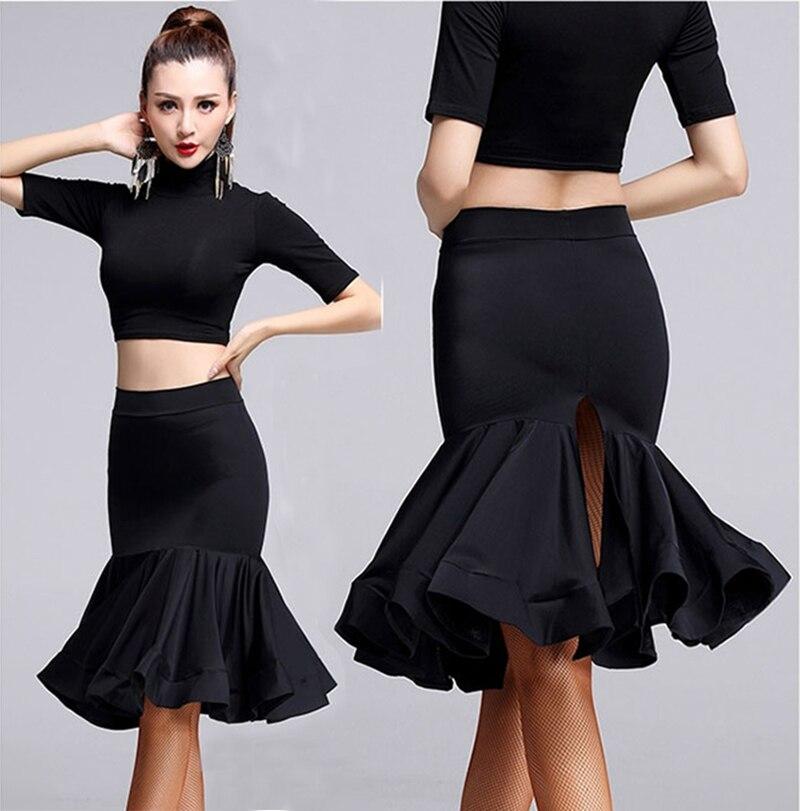 Lady Latin Dance Skirt For Sale Black Cha Cha Rumba Samba Tango Latin Skirt For Dancing Practice Performamnce Dancewear