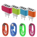 1 М 3 Порта Трехместный USB Зарядное Устройство Адаптер ЕС Plug Micro USB Кабель Для Samsung HTC LG iPhone Телефон Зарядные Устройства С Данными провода