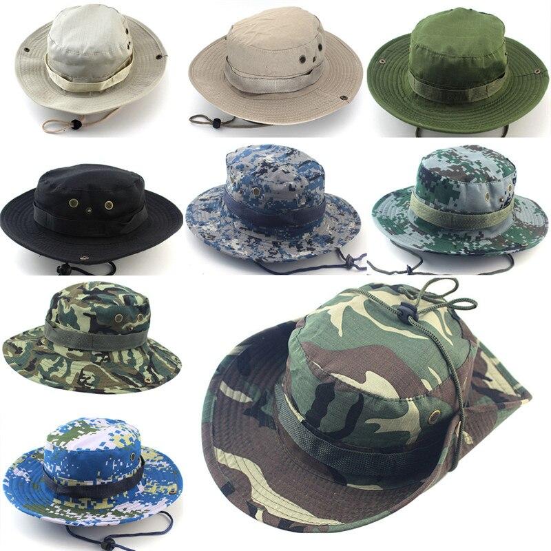 eb40386904c Sun Hats Cap Men Women Camouflage Bucket Hat With String Fisherman Cap  Military Panama Safari Boonie