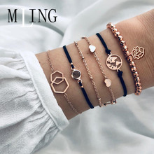 MLING 6 Pcs/Set Vintage Heart World Map Hollow Flower Geometric Bracelet Set For Women Bracelet Bangles Female Boho Jewelry chic heart geometric bracelet for women