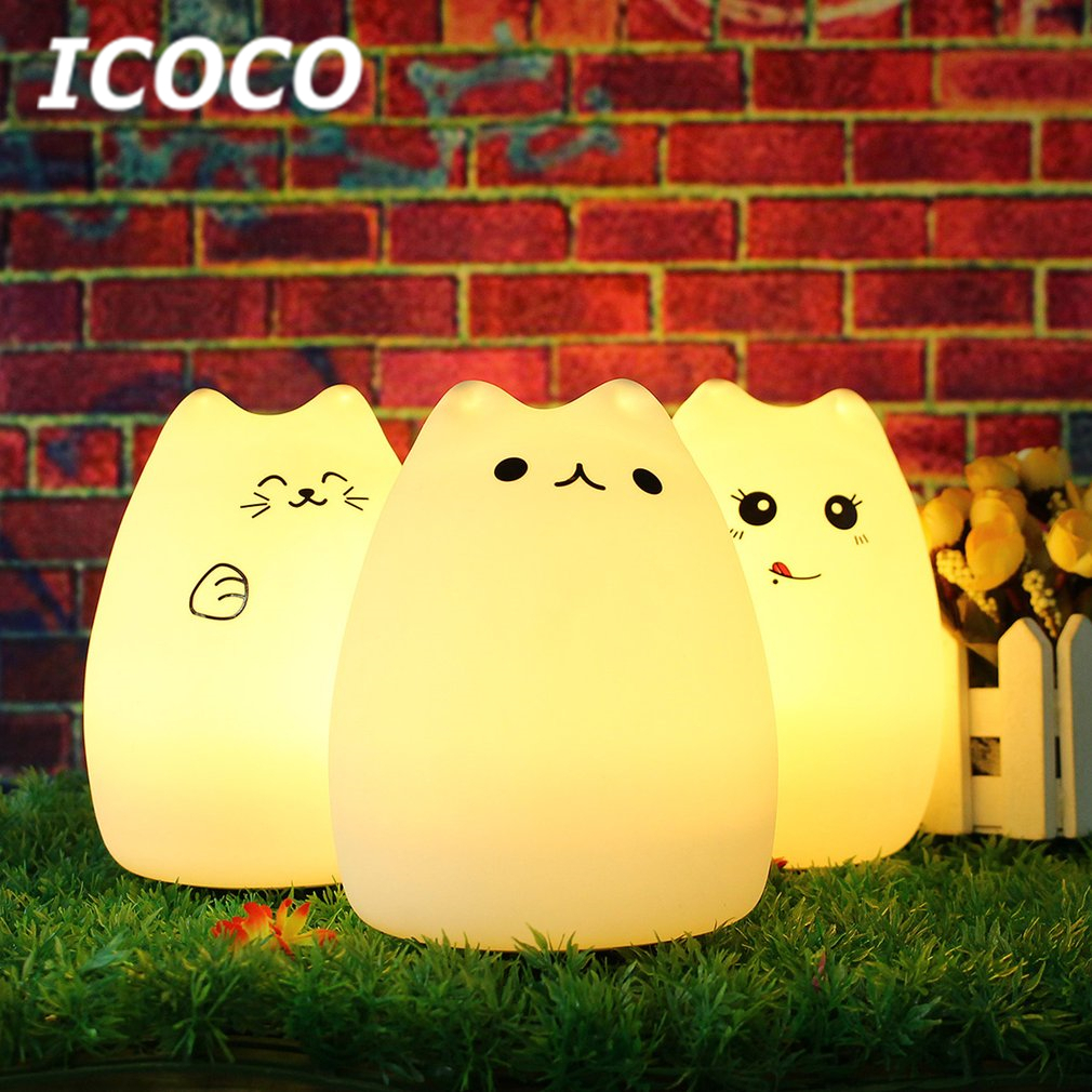ICOCO 7 Colors Cat Silicone LED Light Rechargeable Touch Sensor light Soft Cartoon Children Cute Bedroom Lamp Valentine's Day швабра для мытья пола soft touch light твист с отжимом