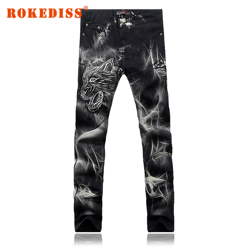 New products Painting Men printing jeans Zipper closure Straight Slim Han board trousers fashion Men s