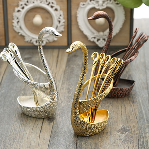 7Pcs Swan Fruit Base Holder Forks Set Stainless Steel Salad Dessert Forks Coffee Spoon Cake Tableware Zero Waste Talher Flatware(China)