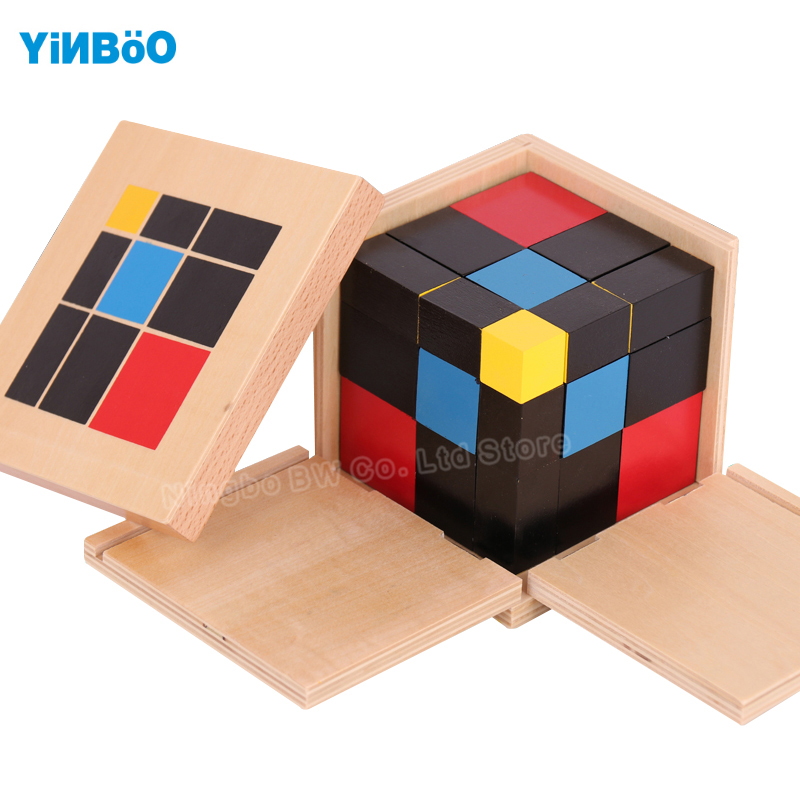 Montessori Educational Wooden Toy Trinomial Cube Math for Early Childhood Preschool Training Learning Toys Great Gift new wooden baby toy montessori cylinder blocks sensorial preschool training early childhood education