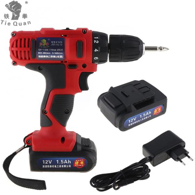 AC 100 - 240V Cordless 12V Electric Drill / Screwdriver with 18 Gear Torque and Two-speed Adjustment for Screws / Punching