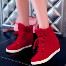 5CM heeled Sneakers Women High Top Casual Shoes 2019 Lightweight breathable Fashion Lady Platform Wedge Trainers